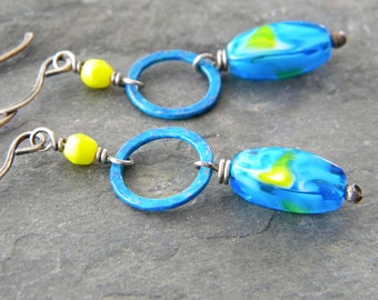 Marbled Blue Glass Copper Earrings Verdigris Copper Circle Links Flourescent Lime Green Sterling Silver Artisan Jewelry