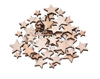 10 wooden star embellishments raw Scandinavian spirit
