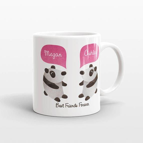 Best Friend Gift, Panda Mug, Personalized Best Friend Mug, Animal Best Friend Coffee Mug, Unique Friendship Gift Best Friend Birthday Gift