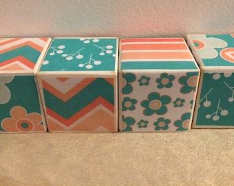Wooden Baby Block Set, Baby Blocks Photo Props, Wooden Baby Blocks, Baby Shower Decor- Pink and Green Flower Design