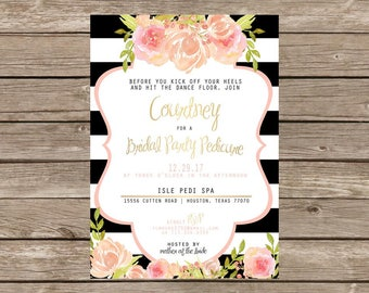 Modern Black Gold Floral Bridal Party Pedicure Invitation