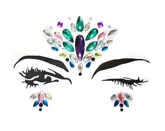 Face jewels, gems, all in one, body crystals, bindi stickers, festival stick on rhinestones, face stickers, stick on body jewels, rave, pink