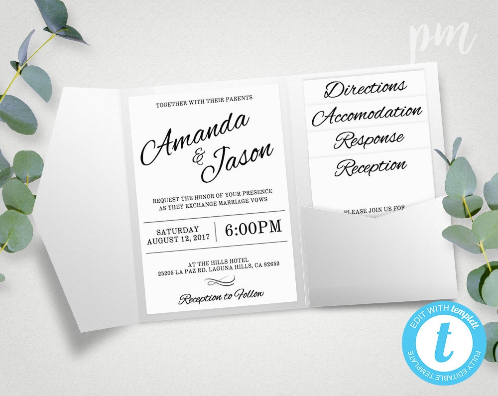 Pocket Wedding Invitation Suite Printable Wedding Invitation