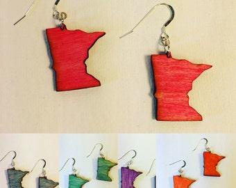 Custom Colors - Wood Minnesota Earrings