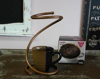 Ceramic Pour Over Stand - For Use With Hario V60 #2 Ceramic Dripper - Copper Drip Stand - Copper Kitchen - Elegant Design - Copper Decor