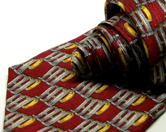 "Vintage COUNTESS MARA ""1938"" Necktie Regency SCROLL Foulard Jacquard Weave Silk Tie Red Burgundy Silver, Gold 085"