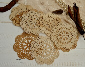 Set of 10 Tea stained lace paper doilies for junk journals art journals old looking vintage paper scrapbooking doilies .
