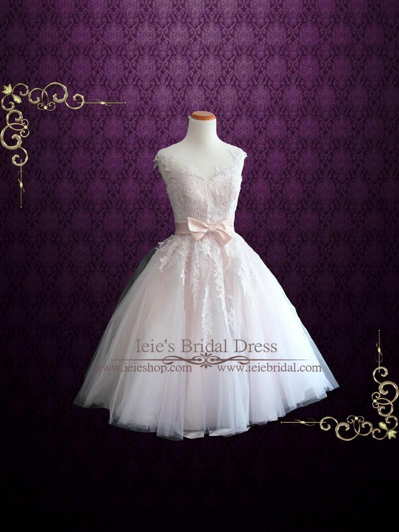 Pearl Pink Retro Tea Length Wedding Dress Prom Dress Formal