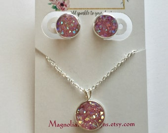 Light Pink Druzy Earrings and Necklace Set