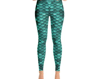 Mermaid Fish Scale Ocean Turquoise Blue Green Yoga Pants Leggings For Women and Girls XS S M L XL