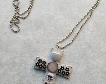 Mosaic pendant cross - silver & skulls