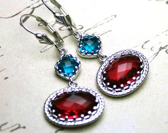 Moroccan Jeweled Earrings - Gothic Earrings in Dark Aqua Blue And Ruby Red - Sterling Silver Leverbacks - Red And Blue Bohemian Earrings