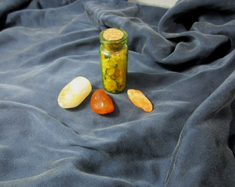 Wishing/Blessing Bottles - Ritual Tools - Magick - Blessings - Tumbled Stones