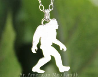Silver Sasquatch Necklace, Big Foot, Bigfoot Necklace, Mythology, Minimalist Pendant, Geek gift, Funny Gifts, Unique Gifts, Unique Necklace