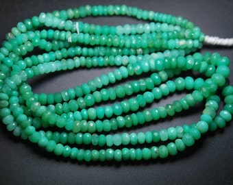 14 Inch Strand,Super Rare Finest Quality,CHRYSOPRASE Faceted Rondells Size 5-7mm,