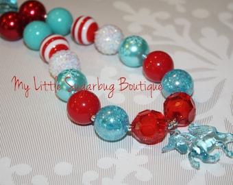 Christmas Starlight Chunky Necklace-Christmas Unicorn Chunky Necklace-M2M Eleanor Rose-Bubblegum Necklace-Baby-Toddler-Girls-Women