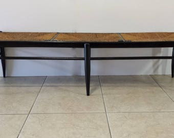 Italian Wood and Rush Seat Bench (Shipping Not Included)