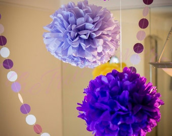 """paper flower, pompom 15 (14"""" -8"""") mixed , party decorations , tissue paper decoration, wedding decor, paper tissue"""