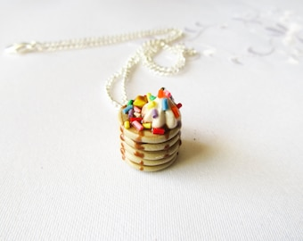 Sprinkle Pancake Necklace, Food Necklace, Polymer Clay, Charm Necklace, Cute Necklace, Kawaii Necklace, Sweet Lolita, Food Jewelry, Pancake