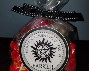 Supernatural Favor Bag Stickers, Supernatural Party Favor Stickers, Personalized Supernatural Favor Bag Stickers, Supernatural Stickers