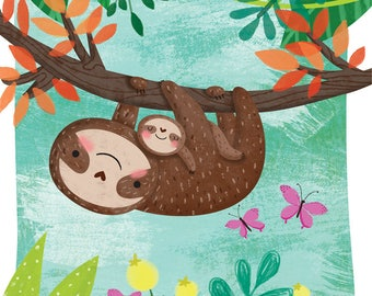 Sloth and baby - A4 print