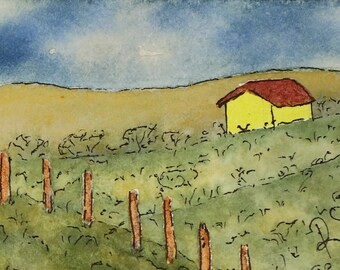 Cottage at the Vineyard Small Watercolor Painting ACEO Original Fine Art Watercolors Original Watercolor Trading Cards Clouds Rolling Hills