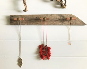 Rustic Coat Rack | Reclaimed Wood Wall Organizer Hanger | Necklace Wall Organizer | Housewarming Gift | Decorative  Knobs for  Leashes