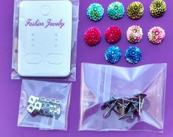 Earring making kit diy Flower earrings Surgical Steel (5 pairs) blanks posts jewellery findings pierced butterfly backs cabochons cards UK