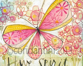 butterfly art print - limited edition - archival - watercolor painting - 8 x 8 inches - by Cori Dantini