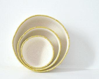 Modern basket decor, Rope bowl basketry, Bathroom basket, Kitchen decor bowl, Minimalist decor, Mediterranean decor, Mustard decor Rope bowl