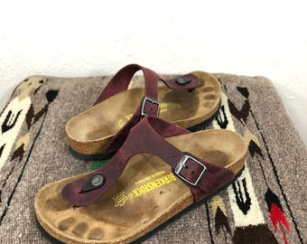 birkestock leather strap flip flop sandal made in germany size L6 M4