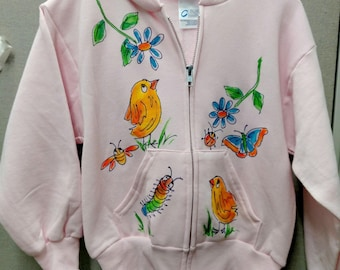 Chicks and Flowers Light Pink Hoodie Handpainted Full-zip front