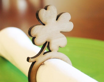 Shamrock Wood Napkin Rings, St. Patricks's Day, Laser Cut Set of 4, 8, 12