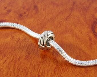 Stopper beads / 3 European charm bracelet beads / silver plated sliding beads