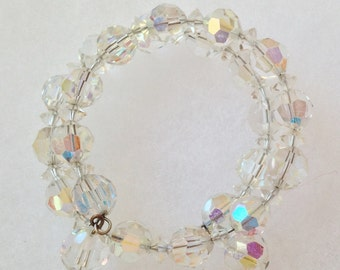Pretty Clear Faceted Crystal Coil Bracelet