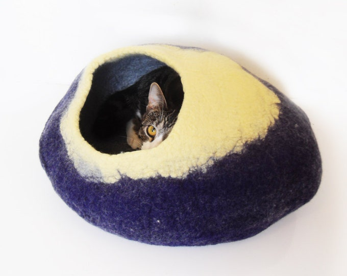 Felt Cat Cave Bed Cocoon House Blue and Yellow with Free Cat Ball