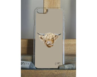 Scottish Highland Cow iPhone Case iPhone 5s 6 6s 7 by Artist Grace Scott