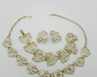 ON SALE Vintage Sarah Coventry Gold and Silver Tone Swirled Leaf Necklace, Earrings & Bracelet Set