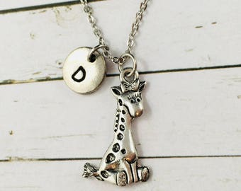 Giraffe Necklace, Personalised 3-D Silver Giraffe Charm Necklace, Hand Stamped Initial, Giraffe Pendant, Giraffe Gift, Children's Necklace