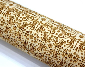 Engraved Rolling Pin Flowers Swirls Christmas Gift, Embossed Rolling Pin, Gift for Mother, Gift for Her, Gift for Grandmother, Big