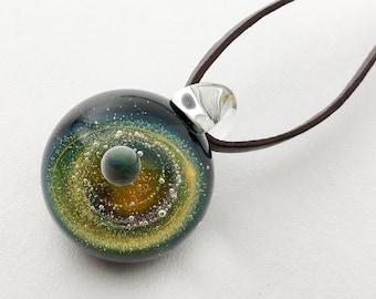 Man Pendant, Glass pendant, Galaxy Pendant, Space Glass, Borosilicate Glass, Gilson Opal, Silver