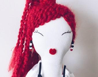 Handmade Heirloom Cloth Doll - Ponytail and Earrings