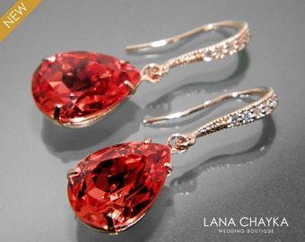 Padparadscha Rose Gold Earrings Swarovski Rhinestone Teadrop Earrings Wedding Jewelry Bridal Bridesmaid Earrings Red Pink Rose Gold Earrings