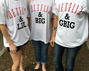 Netflix and Chill Big, Little, GBig, GGBig Family Reveal Sorority Comfort Colors T-Shirt