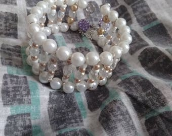 PEARL CHAMPAGNE Memory Wire Bracelet