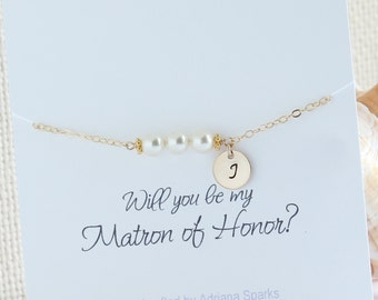 Maid of Honor Wedding Gift, Maid of Honor Personalized Gift, Initial & Pearl Bracelet, Maid of Honor Gift Sister, Bridesmaid Bracelet