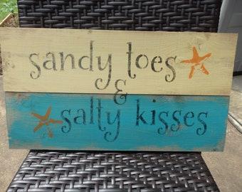 Sandy Toes & Salty Kisses Wood Sign~Rustic~Home Decor~Beach~Coastal Decor