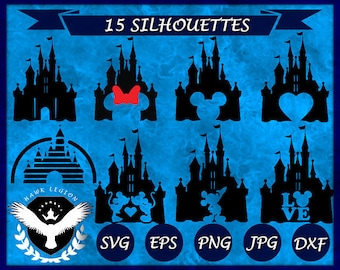15 Disney Castle SVG | Disney SVG | Princess Castle SVG | Disney Castle Decal | Disney Castle Print | Castle Cut File | Castle Printable
