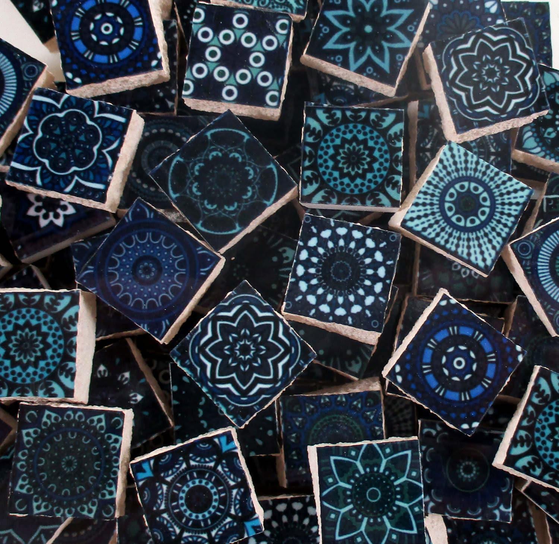 Ceramic Mosaic Tiles Dark Blue Medallions Moroccan Tile Mosaic