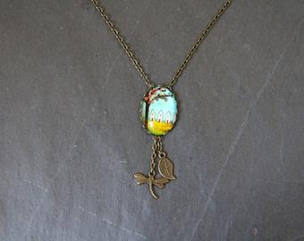 Bronze necklace, multicolor tree of life